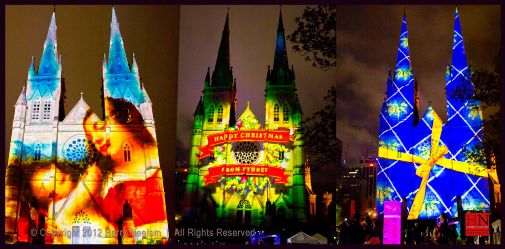 Christmas Lights at St. Marys Cathedral in Sydney